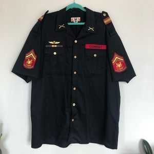 over-sized military shirt / dress